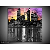Wandklok op Canvas Uitzicht   Kleur: Paars, Zwart, Geel   F002470C