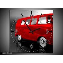 Wandklok op Canvas Auto   Kleur: Rood, Zwart, Grijs   F002474C