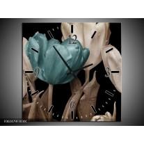 Wandklok op Canvas Tulpen   Kleur: Blauw, Wit, Zwart   F002479C