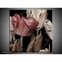 Wandklok op Canvas Tulpen | Kleur: Bruin, Wit, Zwart | F002480C