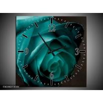 Wandklok op Canvas Roos | Kleur: Blauw, Wit, Zwart | F002482C