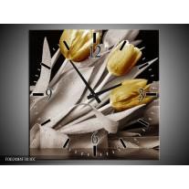 Wandklok op Canvas Tulpen | Kleur: Geel, Wit, Zwart | F002484C