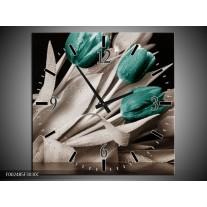 Wandklok op Canvas Tulpen | Kleur: Blauw, Wit, Zwart | F002485C