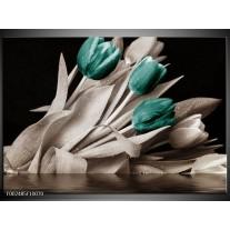 Glas schilderij Tulpen | Blauw, Wit, Zwart