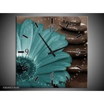 Wandklok op Canvas Bloem | Kleur: Blauw, Wit, Grijs | F002492C
