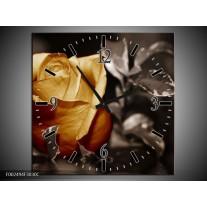 Wandklok op Canvas Roos | Kleur: Geel, Wit, Grijs | F002494C