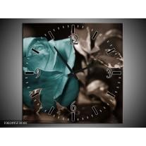 Wandklok op Canvas Roos | Kleur: Blauw, Wit, Grijs | F002495C
