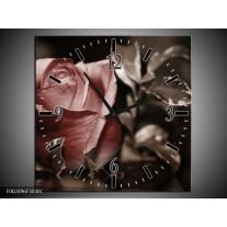 Wandklok op Canvas Roos | Kleur: Bruin, Wit, Grijs | F002496C