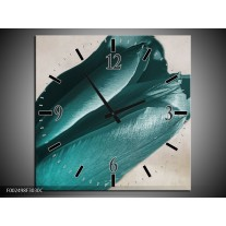 Wandklok op Canvas Tulp | Kleur: Blauw, Grijs, Wit | F002498C