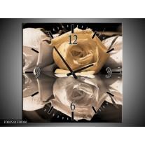 Wandklok op Canvas Roos | Kleur: Geel, Grijs, Wit | F002511C