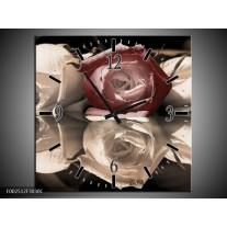 Wandklok op Canvas Roos | Kleur: Bruin, Grijs, Wit | F002512C