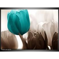 Glas schilderij Tulpen   Blauw, Wit, Grijs