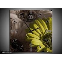 Wandklok op Canvas Bloem | Kleur: Groen, Wit, Grijs | F002524C