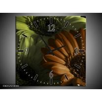 Wandklok op Canvas Bloem   Kleur: Bruin, Groen   F002525C