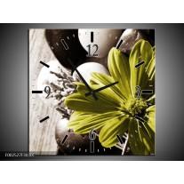 Wandklok op Canvas Bloem   Kleur: Bruin, Groen   F002527C