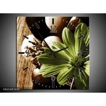 Wandklok op Canvas Bloem | Kleur: Groen, Wit, Grijs | F002528C