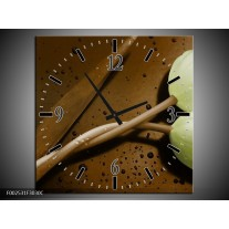 Wandklok op Canvas Tulp   Kleur: Bruin, Groen   F002531C