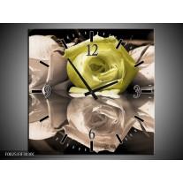 Wandklok op Canvas Roos | Kleur: Groen, Grijs, Wit | F002533C