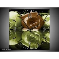 Wandklok op Canvas Roos | Kleur: Groen, Bruin, Wit | F002534C