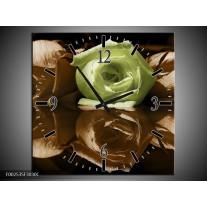 Wandklok op Canvas Roos | Kleur: Groen, Bruin | F002535C