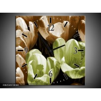 Wandklok op Canvas Krokus | Kleur: Groen, Bruin, Wit | F002541C