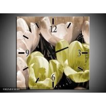 Wandklok op Canvas Krokus | Kleur: Groen, Grijs, Wit | F002545C
