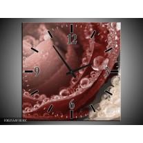 Wandklok op Canvas Roos | Kleur: Bruin,  | F002554C