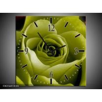 Wandklok op Canvas Roos | Kleur: Groen, Wit, Zwart | F002560C