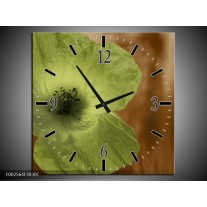Wandklok op Canvas Klaproos | Kleur: Bruin, Groen, Zwart | F002564C