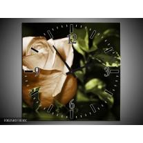Wandklok op Canvas Bloem   Kleur: Wit, Bruin, Groen   F002581C
