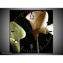 Wandklok op Canvas Bloem   Kleur: Groen, Bruin, Zwart   F002590C