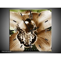 Wandklok op Canvas Iris | Kleur: Groen, Bruin, Wit | F002599C