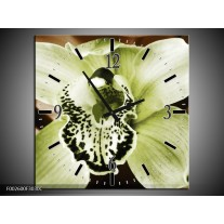 Wandklok op Canvas Iris | Kleur: Groen, Bruin, Wit | F002600C