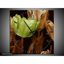 Wandklok op Canvas Tulp | Kleur: Bruin, Groen, Zwart | F002602C