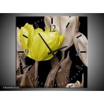 Wandklok op Canvas Tulp   Kleur: Groen, Grijs, Zwart   F002604C