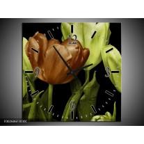 Wandklok op Canvas Tulp   Kleur: Groen, Bruin, Zwart   F002606C