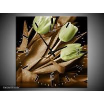 Wandklok op Canvas Tulp | Kleur: Groen, Bruin, Zwart | F002607C