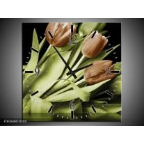 Wandklok op Canvas Tulp | Kleur: Groen, Bruin, Zwart | F002608C
