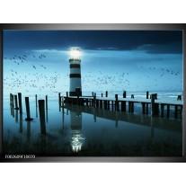 Foto canvas schilderij Vuurtoren   Blauw, Wit, Zwart