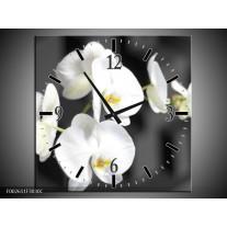 Wandklok op Canvas Orchidee | Kleur: Zwart, Wit, Grijs | F002611C