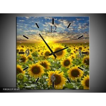 Wandklok op Canvas Zonnebloem | Kleur: Geel, Groen, Bruin | F002612C