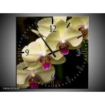Wandklok op Canvas Orchidee | Kleur: Geel, Paars, Zwart | F002613C
