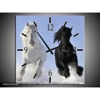 Wandklok op Canvas Paarden   Kleur: Wit, Zwart, Blauw   F002614C