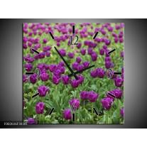 Wandklok op Canvas Tulpen | Kleur: Paars, Groen | F002616C