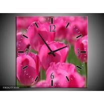 Wandklok op Canvas Tulp | Kleur: Roze, Groen | F002627C