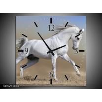 Wandklok op Canvas Paard   Kleur: Wit, Grijs   F002629C