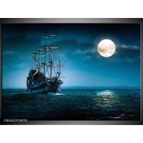 Foto canvas schilderij Boot | Blauw, Wit, Zwart