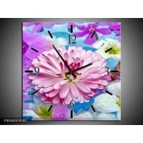 Wandklok op Canvas Bloem | Kleur: Paars, Wit, Rood | F002645C