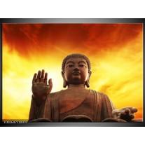 Glas schilderij Boeddha | Geel, Bruin, Oranje