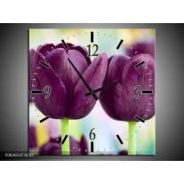 Wandklok op Canvas Tulp | Kleur: Paars, Groen | F002651C